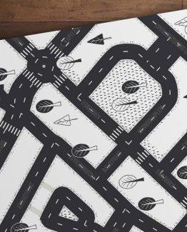 Speelmat van je buurt zwart wit